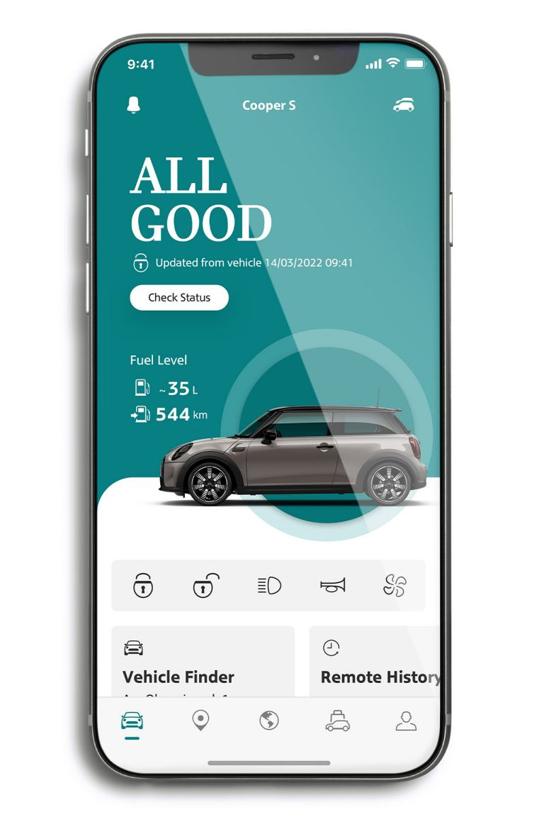 mini connected – mini app – vehicle tab